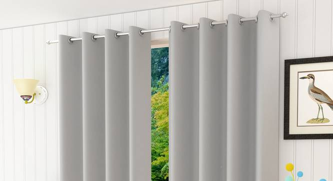 "Lillian Window Curtain - Set Of 2 (Silver, 112 x 152 cm  (44"" x 60"") Curtain Size) by Urban Ladder - Design 1 Half View - 322101"