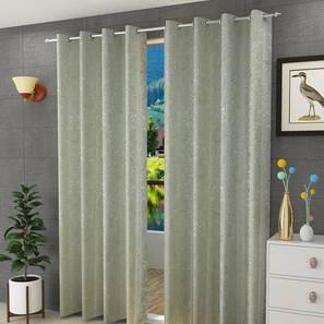 "Magnolia Door Curtain - Set Of 2 (Green, 112 x 274 cm  (44"" x 108"") Curtain Size) by Urban Ladder - Design 1 Half View - 322115"