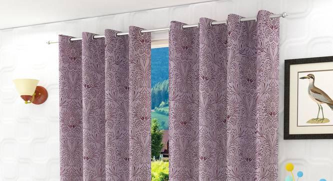 "Magnolia Door Curtain - Set Of 2 (Purple, 112 x 213 cm  (44"" x 84"") Curtain Size) by Urban Ladder - Design 1 Half View - 322123"