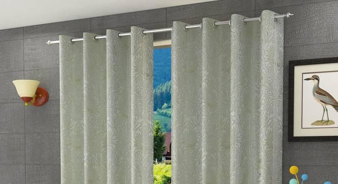 "Magnolia Door Curtain - Set Of 2 (Green, 112 x 213 cm  (44"" x 84"") Curtain Size) by Urban Ladder - Design 1 Half View - 322147"