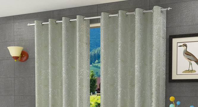 "Magnolia Window Curtain - Set Of 2 (Green, 112 x 152 cm  (44"" x 60"") Curtain Size) by Urban Ladder - Design 1 Half View - 322148"