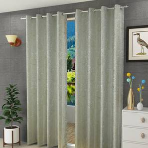 "Magnolia Window Curtain - Set Of 2 (Green, 112 x 152 cm  (44"" x 60"") Curtain Size) by Urban Ladder - Design 1 Half View - 322148"