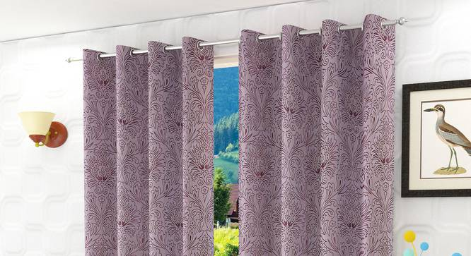 "Magnolia Window Curtain - Set Of 2 (Purple, 112 x 152 cm  (44"" x 60"") Curtain Size) by Urban Ladder - Design 1 Half View - 322153"