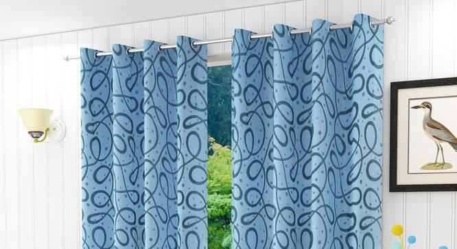 """Maren Door Curtain - Set Of 2. (Blue, 112 x 213 cm  (44"""" x 84"""") Curtain Size) by Urban Ladder - Design 1 Half View - 322157"""