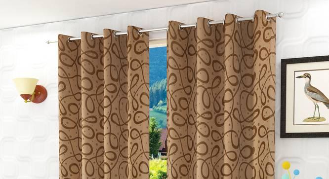 """Maren Door Curtain - Set Of 2. (Gold, 112 x 213 cm  (44"""" x 84"""") Curtain Size) by Urban Ladder - Design 1 Half View - 322172"""