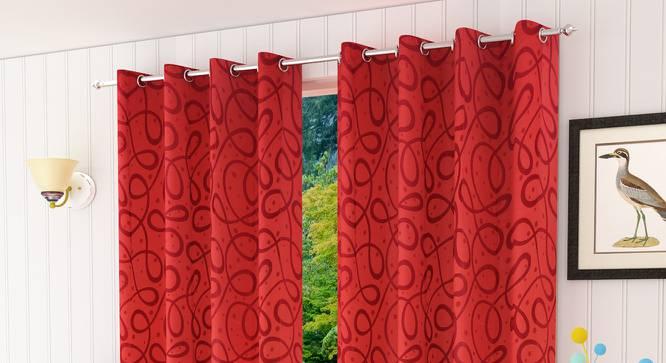 """Maren Door Curtain - Set Of 2. (Red, 112 x 274 cm  (44"""" x 108"""") Curtain Size) by Urban Ladder - Design 1 Half View - 322192"""