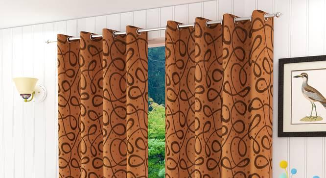 """Maren Door Curtain - Set Of 2. (Rust, 112 x 274 cm  (44"""" x 108"""") Curtain Size) by Urban Ladder - Design 1 Half View - 322201"""