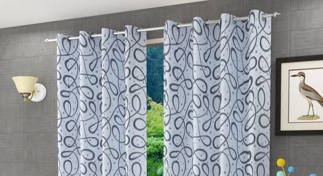 """Maren Window Curtain - Set Of 2 (Grey, 112 x 152 cm  (44"""" x 60"""") Curtain Size) by Urban Ladder - Design 1 Half View - 322215"""