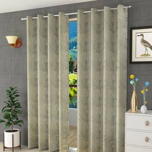 "Olivia Door Curtain - Set Of 2 (Black, 112 x 274 cm  (44"" x 108"") Curtain Size) by Urban Ladder - Design 1 Half View - 322233"