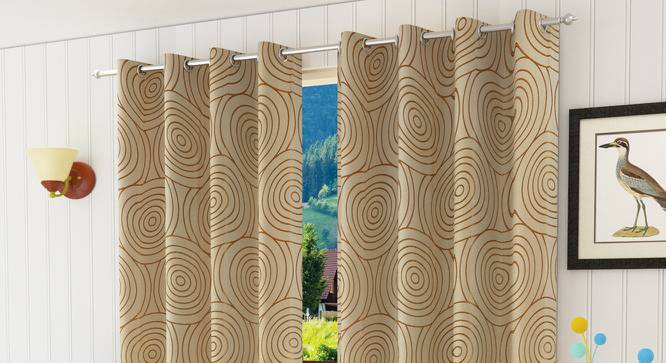 "Sage Door Curtain - Set Of 2 (Gold, 112 x 274 cm  (44"" x 108"") Curtain Size) by Urban Ladder - Design 1 Half View - 322280"