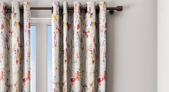 """Florence Curtain (Yellow, 122 x 213 cm(48"""" x 84"""") Curtain Size) by Urban Ladder - Design 1 Details - 323326"""