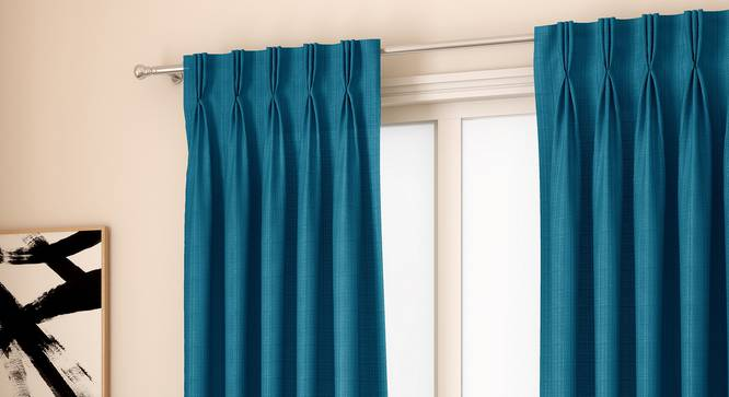 "Milano Window Curtains - Set Of 2 (Blue, 112 x 152 cm  (44"" x 60"") Curtain Size) by Urban Ladder - Design 1 Full View - 324368"