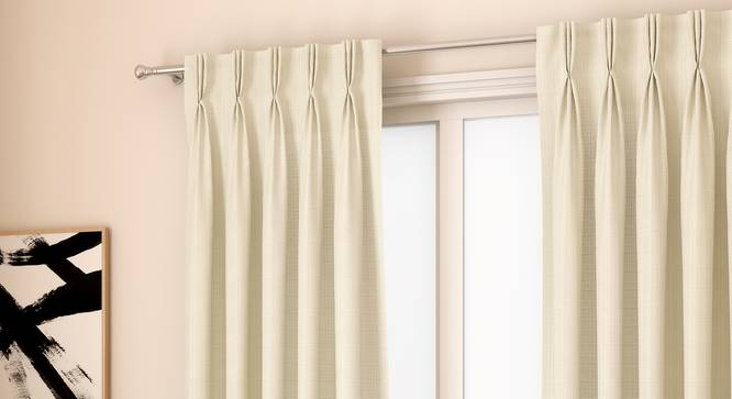 "Milano Window Curtains - Set Of 2 (Cream, 112 x 152 cm  (44"" x 60"") Curtain Size) by Urban Ladder - Design 1 Full View - 324380"