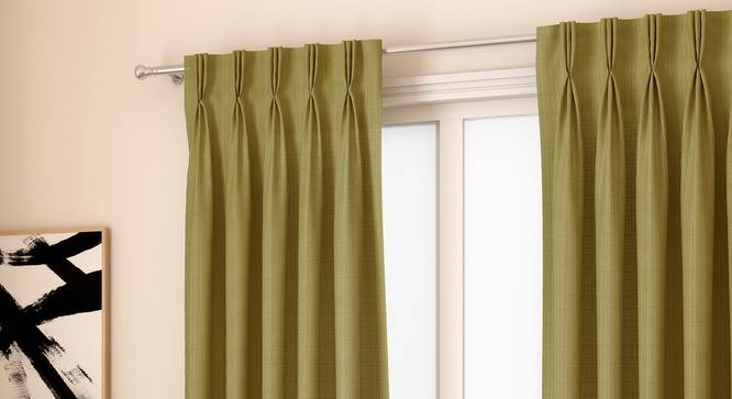 "Milano Window Curtains - Set Of 2 (Green, 112 x 152 cm  (44"" x 60"") Curtain Size) by Urban Ladder - Design 1 Full View - 324386"