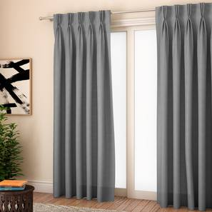 """Milano Window Curtains - Set Of 2 (Grey, 71 x 152 cm (28""""x60"""") Curtain Size, American Pleat) by Urban Ladder - Front View Design 1 - 330963"""
