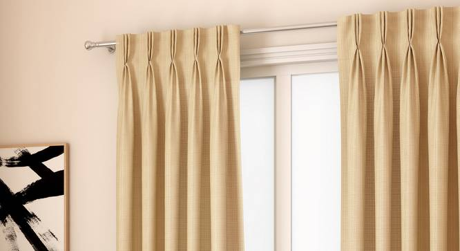 "Milano Window Curtains - Set Of 2 (112 x 152 cm  (44"" x 60"") Curtain Size, Sandal) by Urban Ladder - Design 1 Full View - 324404"