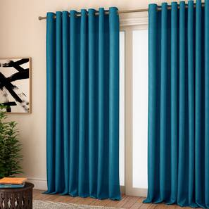 """Milano Window Curtains - Set Of 2 (Blue, 112 x 152 cm  (44"""" x 60"""") Curtain Size) by Urban Ladder - Design 1 Full View - 324442"""