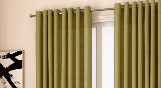 "Milano Window Curtains - Set Of 2 (Green, 112 x 152 cm  (44"" x 60"") Curtain Size) by Urban Ladder - Design 1 Full View - 324460"