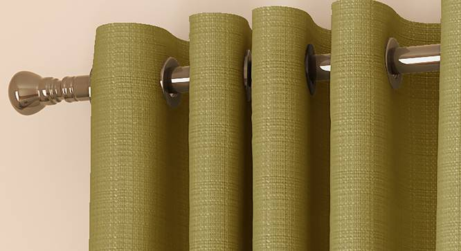 "Milano Window Curtains - Set Of 2 (Green, 112 x 152 cm  (44"" x 60"") Curtain Size) by Urban Ladder - Front View Design 1 - 324461"