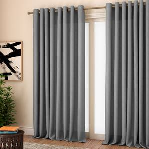 """Milano Window Curtains - Set Of 2 (Grey, 132 x 152 cm  (52"""" x 60"""") Curtain Size, Eyelet Pleat) by Urban Ladder - Front View Design 1 - 330960"""