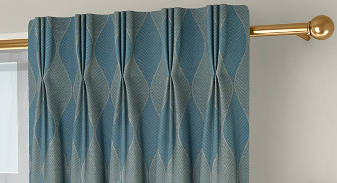 """Abetti Door Curtains - Set Of 2 (Turquoise, 112 x 274 cm  (44"""" x 108"""") Curtain Size) by Urban Ladder - Front View Design 1 - 324473"""