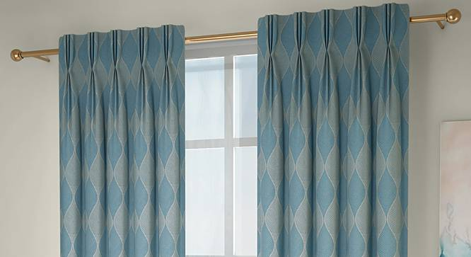 """Abetti Door Curtains - Set Of 2 (Turquoise, 112 x 213 cm  (44"""" x 84"""") Curtain Size) by Urban Ladder - Design 1 Full View - 324495"""