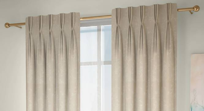 "Pazaz Window Curtains - Set Of 2 (Cream, 112 x 152 cm  (44"" x 60"") Curtain Size) by Urban Ladder - Design 1 Full View - 324513"