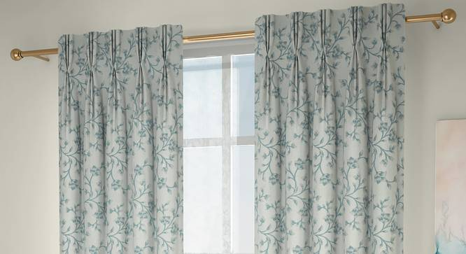 """Pazaz Window Curtains - Set Of 2 (Turquoise, 112 x 152 cm  (44"""" x 60"""") Curtain Size) by Urban Ladder - Design 1 Full View - 324531"""