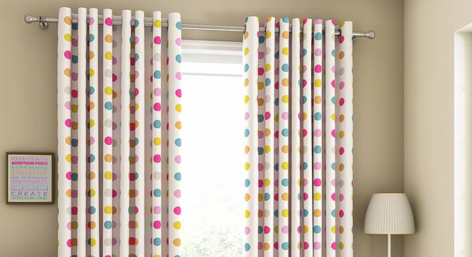 "Polka Party Window Curtains - Set Of 2 (112 x 152 cm  (44"" x 60"") Curtain Size) by Urban Ladder - Design 1 Full View - 324599"