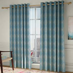 """Abetti Door Curtains - Set Of 2 (Turquoise, 112 x 213 cm  (44"""" x 84"""") Curtain Size) by Urban Ladder - Design 1 Full View - 324605"""