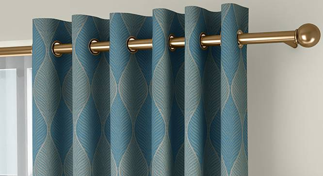 """Abetti Door Curtains - Set Of 2 (Turquoise, 112 x 213 cm  (44"""" x 84"""") Curtain Size) by Urban Ladder - Front View Design 1 - 324606"""