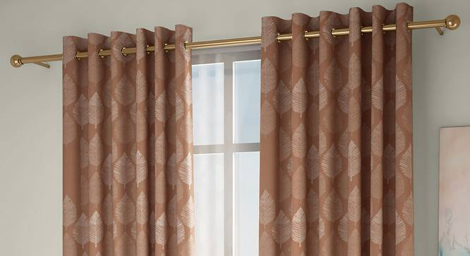 "Provencia Door Curtains - Set Of 2 (Brown, 112 x 274 cm  (44"" x 108"") Curtain Size) by Urban Ladder - Design 1 Full View - 324663"