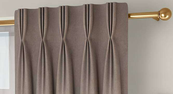 """Amber Blackout Door Curtains - Set Of 2 (Beige, 112 x 274 cm  (44"""" x 108"""") Curtain Size) by Urban Ladder - Front View Design 1 - 324717"""