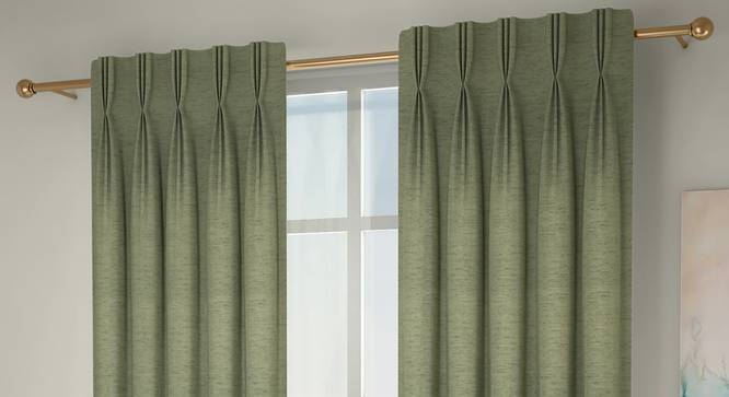 """Windermere Blackout Window Curtains - Set Of 2 (Green, 112 x 152 cm  (44"""" x 60"""") Curtain Size) by Urban Ladder - Design 1 Full View - 324757"""