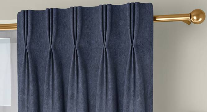 """Amber Blackout Door Curtains - Set Of 2 (Blue, 112 x 213 cm  (44"""" x 84"""") Curtain Size) by Urban Ladder - Front View Design 1 - 324782"""