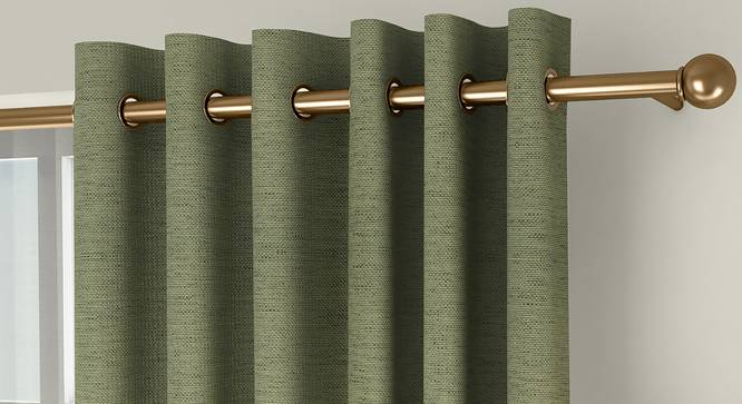 """Windermere Blackout Door Curtains - Set Of 2 (Green, 112 x 274 cm  (44"""" x 108"""") Curtain Size) by Urban Ladder - Front View Design 1 - 324822"""