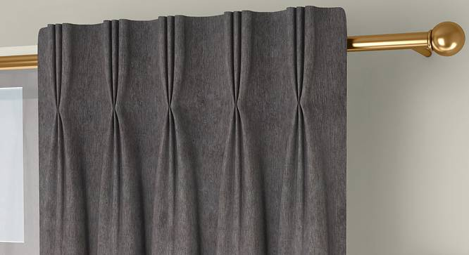 """Amber Blackout Door Curtains - Set Of 2 (Brown, 112 x 213 cm  (44"""" x 84"""") Curtain Size) by Urban Ladder - Front View Design 1 - 324834"""