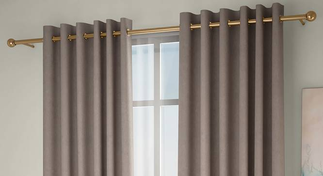"""Amber Blackout Door Curtains - Set Of 2 (Beige, 112 x 213 cm  (44"""" x 84"""") Curtain Size) by Urban Ladder - Design 1 Full View - 324873"""