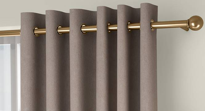 """Amber Blackout Door Curtains - Set Of 2 (Beige, 112 x 213 cm  (44"""" x 84"""") Curtain Size) by Urban Ladder - Front View Design 1 - 324874"""