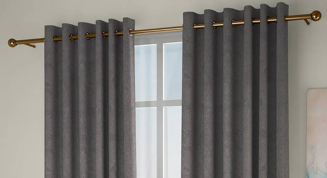"""Amber Blackout Door Curtains - Set Of 2 (Brown, 112 x 213 cm  (44"""" x 84"""") Curtain Size) by Urban Ladder - Design 1 Full View - 324905"""