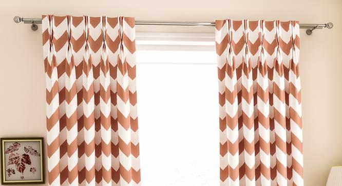 "Chevron Door Curtains - Set Of 2 (112 x 274 cm  (44"" x 108"") Curtain Size, Baby Pink) by Urban Ladder - Design 1 Details - 324933"