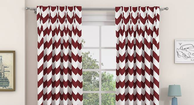 "Chevron Window Curtains - Set Of 2 (Brick Red, 112 x 152 cm  (44"" x 60"") Curtain Size) by Urban Ladder - Design 1 Details - 324939"