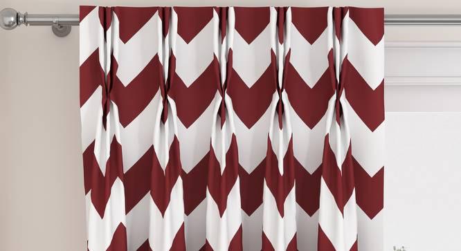 "Chevron Door Curtains - Set Of 2 (Brick Red, 112 x 274 cm  (44"" x 108"") Curtain Size) by Urban Ladder - Design 1 Top View - 324952"