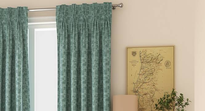 "Arezzo Door Curtains - Set Of 2 (Aqua, 112 x 213 cm  (44"" x 84"") Curtain Size) by Urban Ladder - Design 1 Full View - 324957"