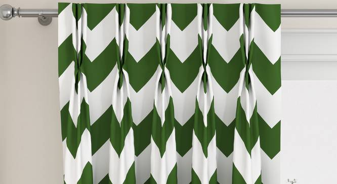 "Chevron Window Curtains - Set Of 2 (Green, 112 x 152 cm  (44"" x 60"") Curtain Size) by Urban Ladder - Design 1 Top View - 324974"
