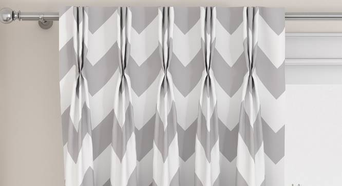"Chevron Window Curtains - Set Of 2 (Dark Grey, 112 x 152 cm  (44"" x 60"") Curtain Size) by Urban Ladder - Design 1 Top View - 324992"