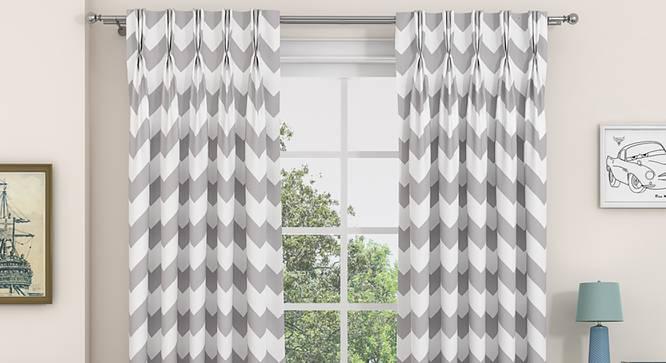 """Chevron Door Curtains - Set Of 2 (Dark Grey, 112 x 274 cm  (44"""" x 108"""") Curtain Size) by Urban Ladder - Design 1 Details - 325003"""