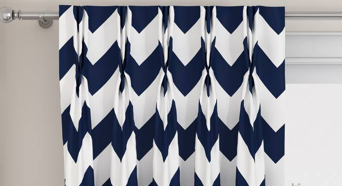 "Chevron Window Curtains - Set Of 2 (Indigo, 112 x 152 cm  (44"" x 60"") Curtain Size) by Urban Ladder - Design 1 Top View - 325010"