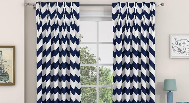 """Chevron Door Curtains - Set Of 2 (Indigo, 112 x 274 cm  (44"""" x 108"""") Curtain Size) by Urban Ladder - Design 1 Details - 325021"""