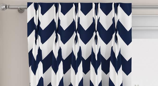 """Chevron Door Curtains - Set Of 2 (Indigo, 112 x 274 cm  (44"""" x 108"""") Curtain Size) by Urban Ladder - Design 1 Top View - 325022"""